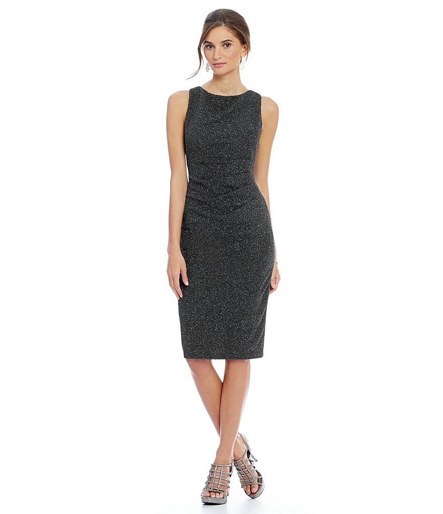 Jessica Howard Petite Glitter Knit Side Tucked Sheath Dress