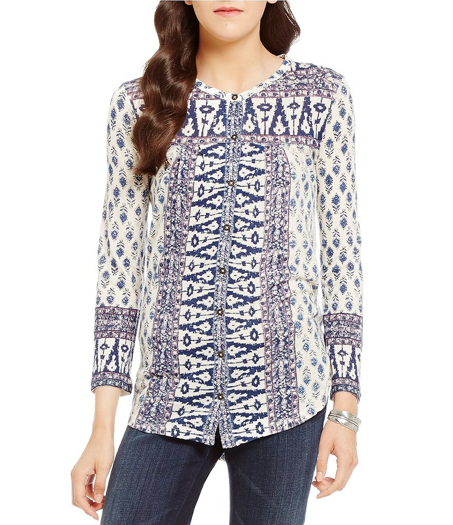 Lucky Brand Woodblock Print Top