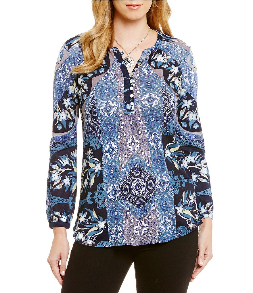 Lucky Brand Moroccan Mixed Print Top