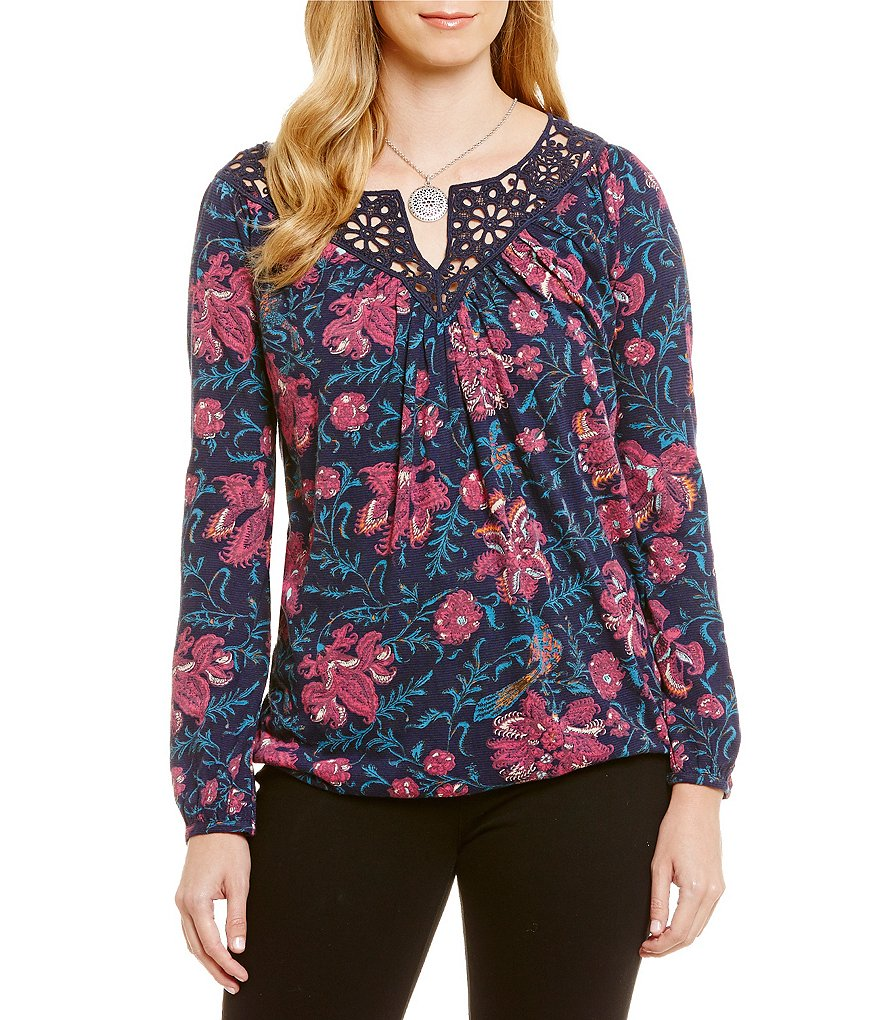 Lucky Brand Katie Long Sleeve Floral Print Top