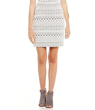 kensie Aztec Ponte Pencil Skirt