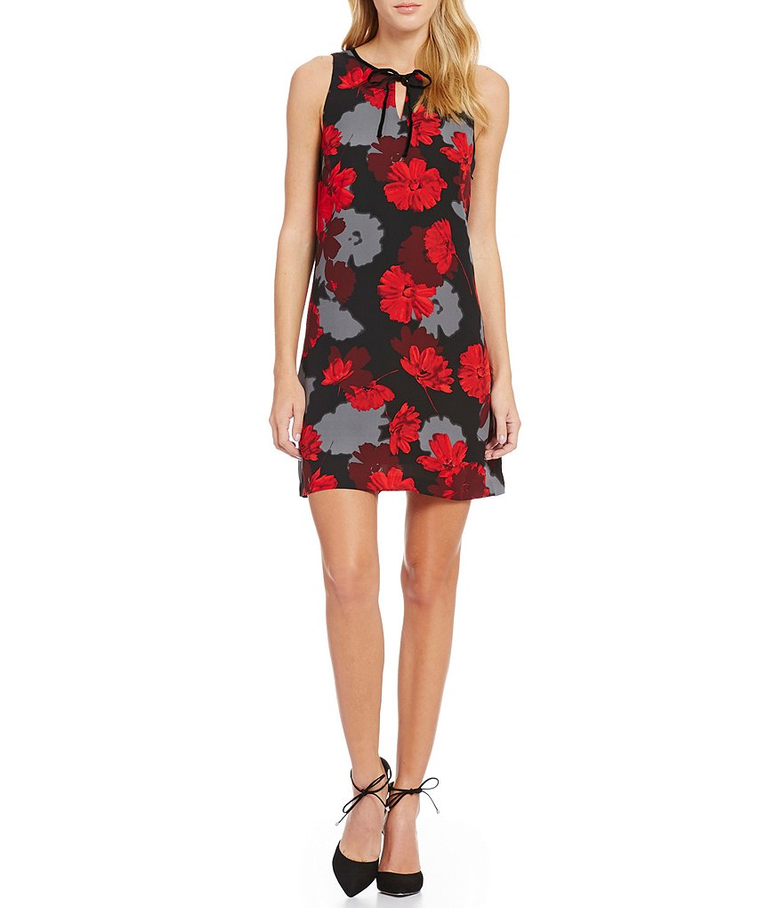 kensie Tossed Flowers Keyhole Dress