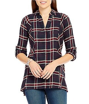 Code Bleu Y-Neck Button Front Plaid Blouse