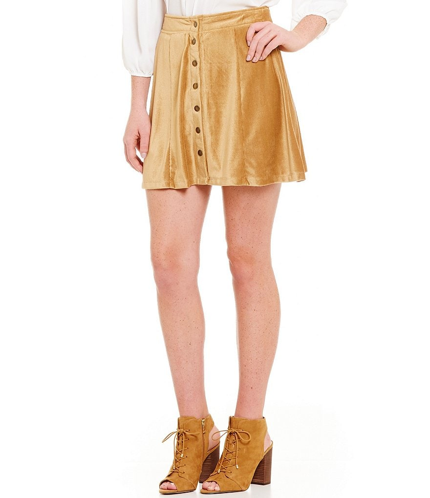 I.N. San Francisco Corduroy Snap Front Skirt