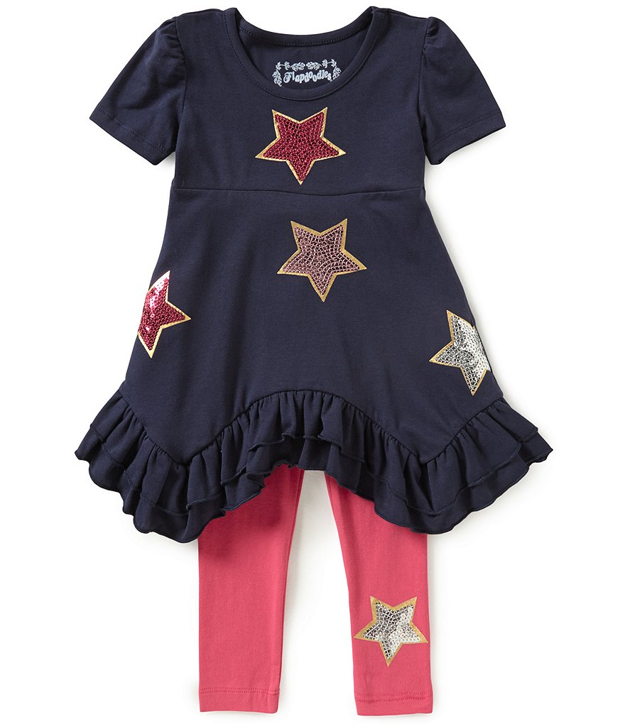Flapdoodles Little Girls 2T-6X Star-Sparkle Dress & Pants Set