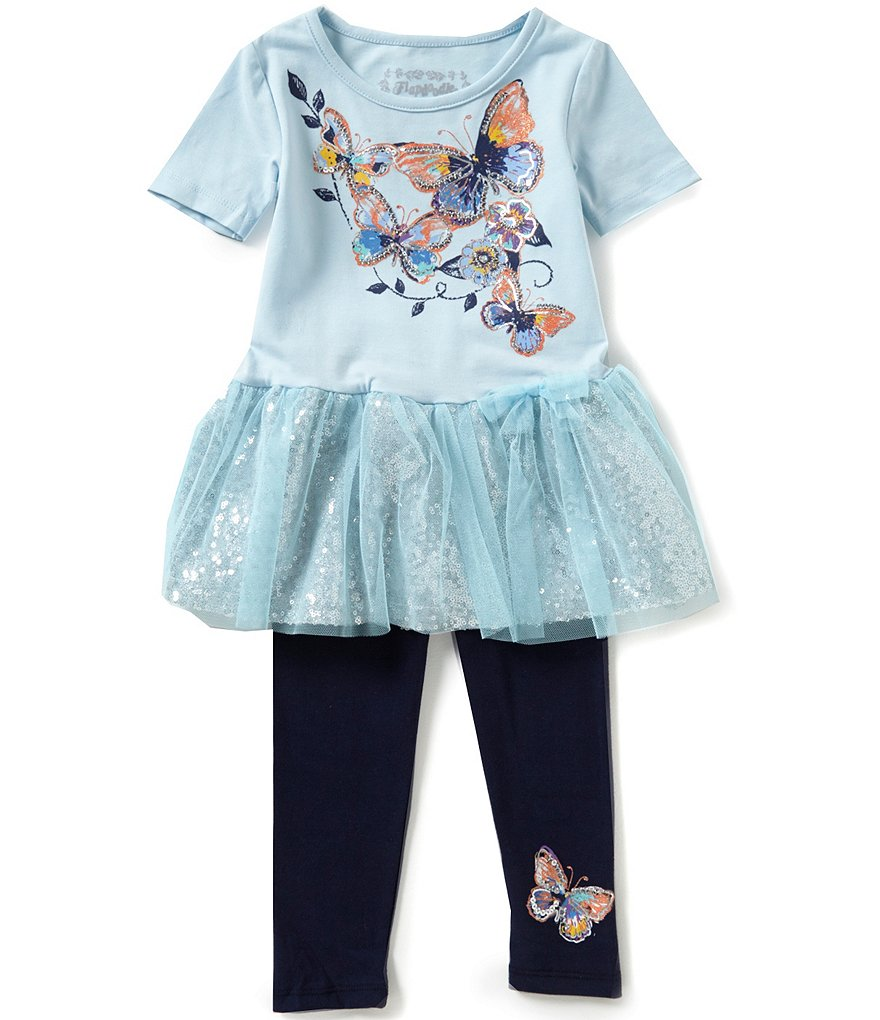 Flapdoodles Little Girls 2T-6X Butterfly-Tutu Dress And Pants Set