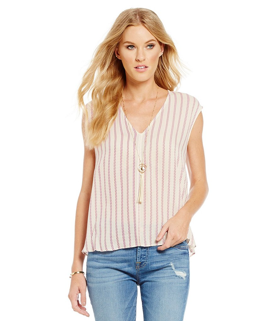 Collective Concepts V-Neck Stripe Blouse