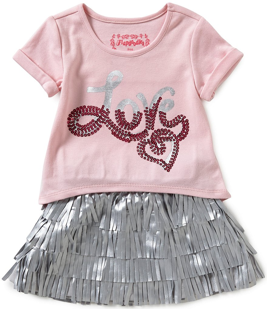 Flapdoodles Little Girls 2T-6X Love Top And Fringe Faux-Leather Skirt Set