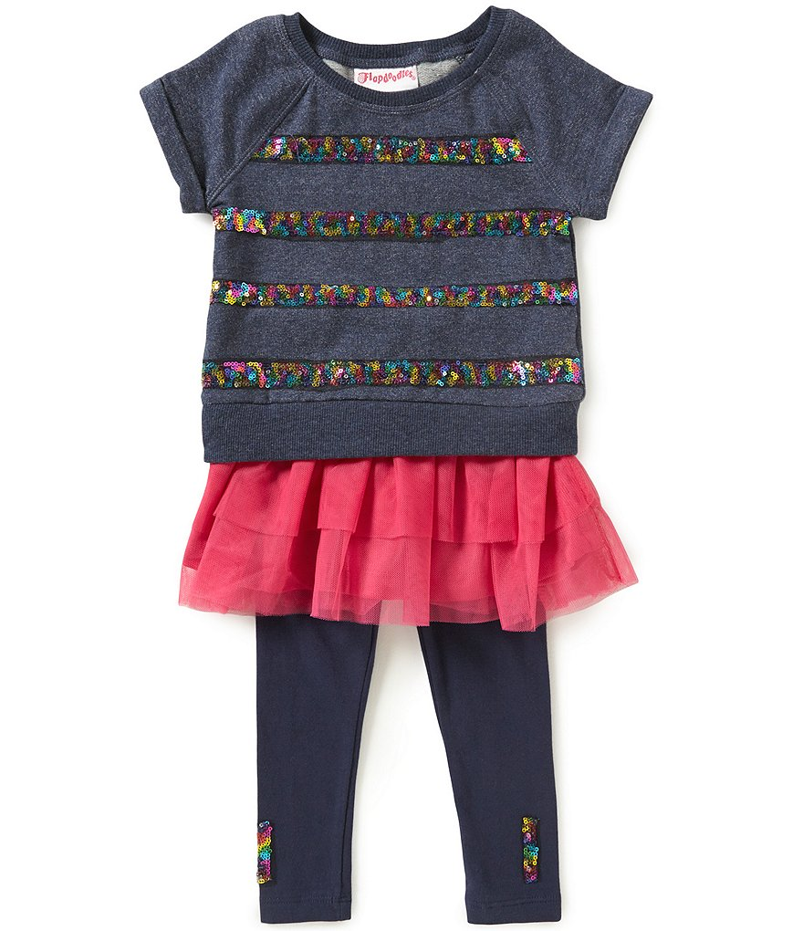 Flapdoodles Little Girls 2T-6X Sequin-Striped Top And Pants Set