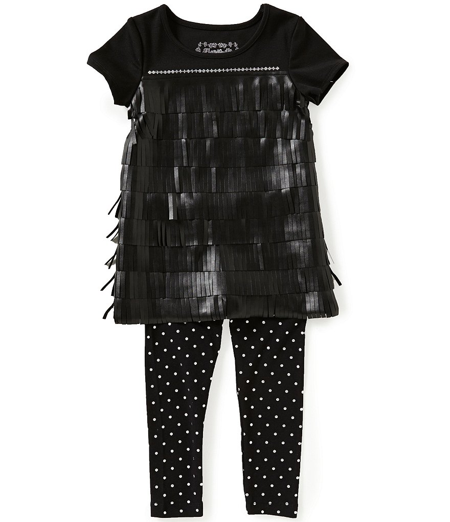 Flapdoodles Little Girls 2T-6X Fringe and Sequin Dress & Pants Set
