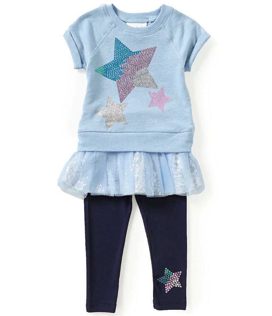 Flapdoodles Little Girls 2T-6X French Terry Star-Print Dress & Pants Set