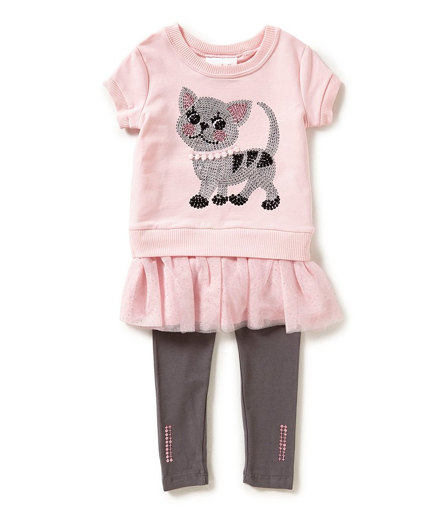 Flapdoodles Little Girls 2T-6X Cat-Graphic Dress and Pants Set