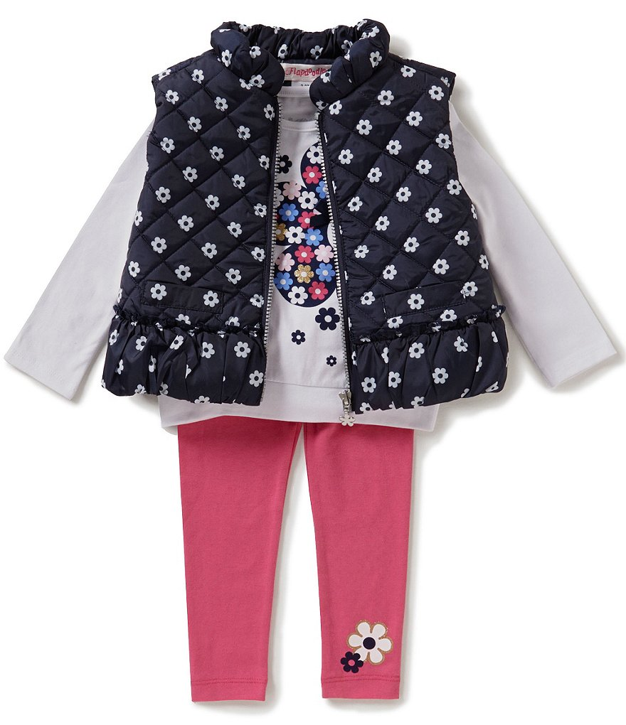 Flapdoodles Little Girls 2T-6X 3-Piece Daisy-Print Vest Set