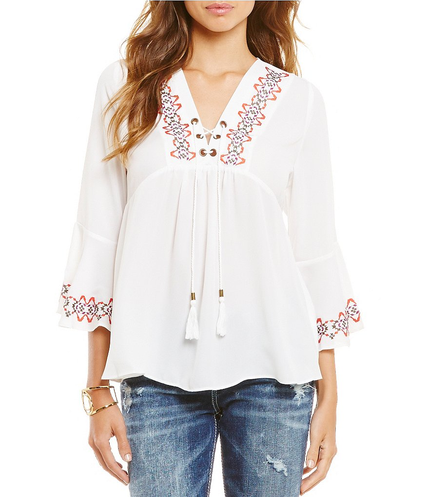 Takara Embroidered Bell-Sleeve Top
