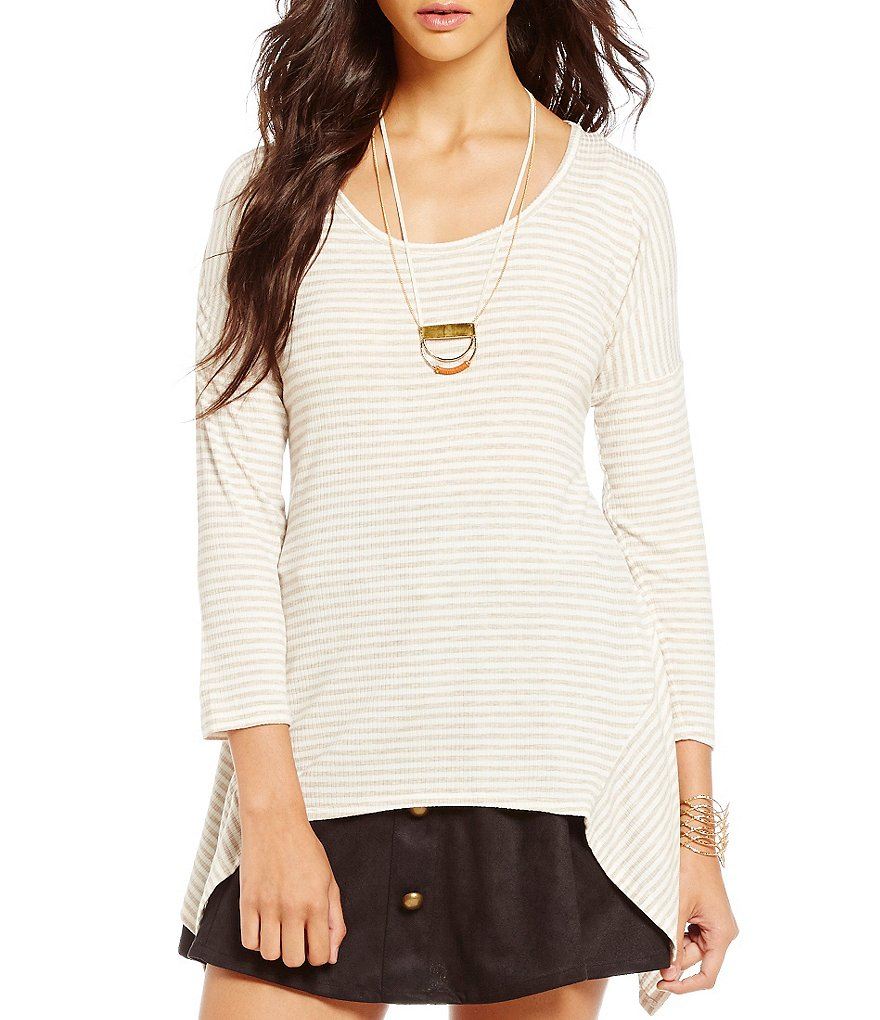 Takara Striped Knit Sharkbite Hem Top