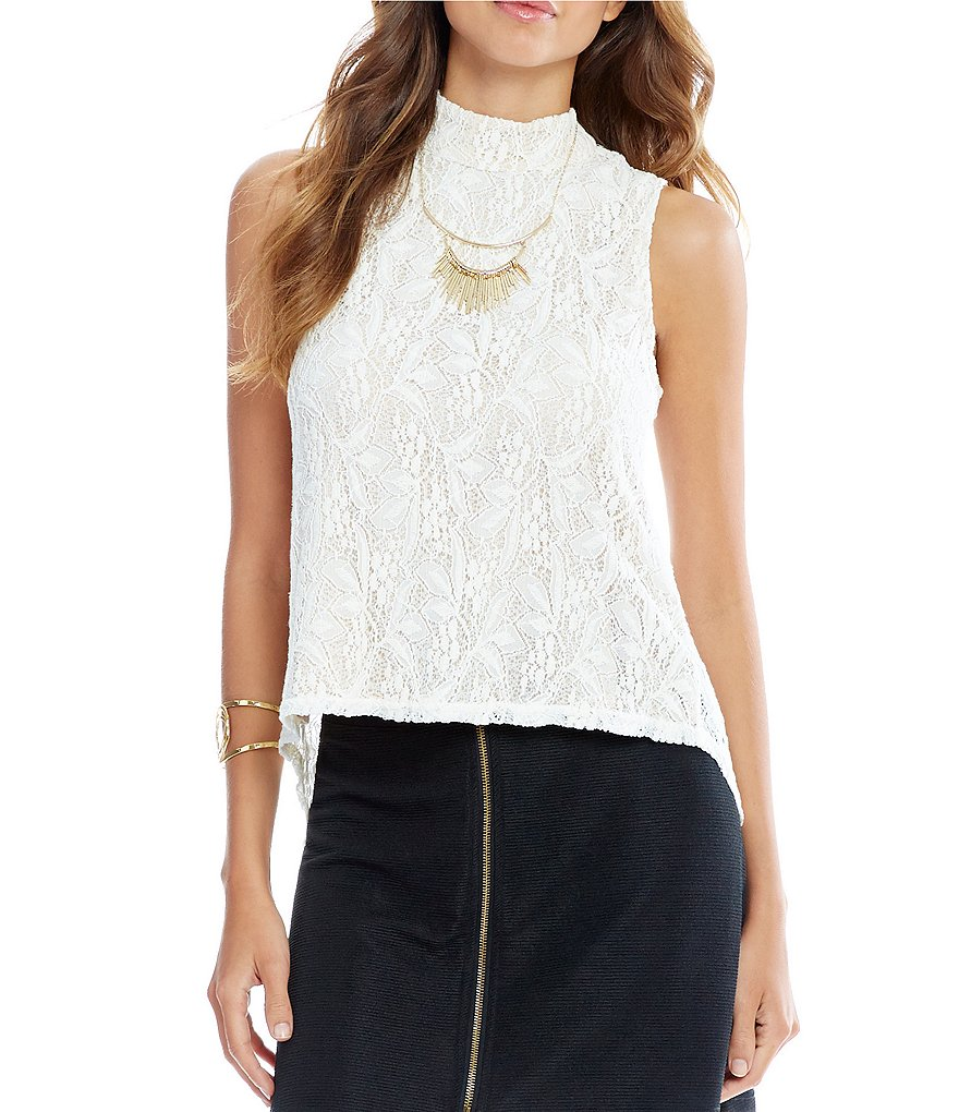 Takara Lace Mock Neck Button-Back Top