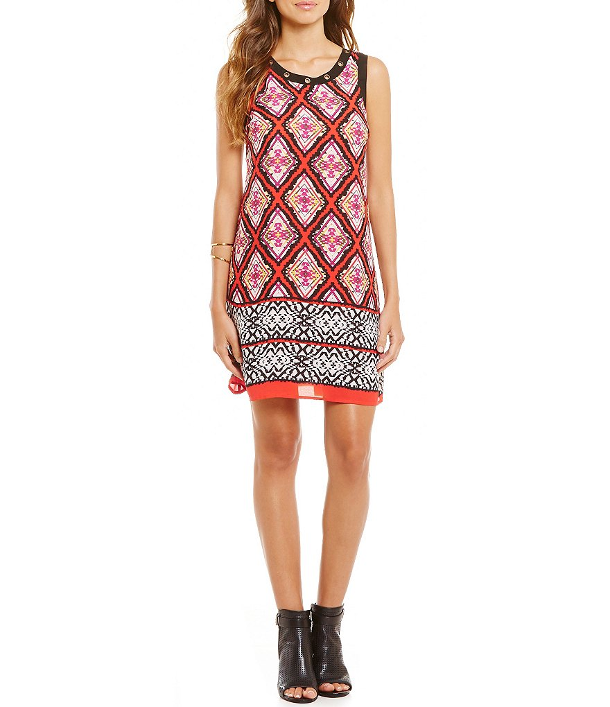 Takara Border Print Grommet Trim Shift Dress