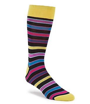 Bugatchi Mercerized Stripe Mid-Calf Socks