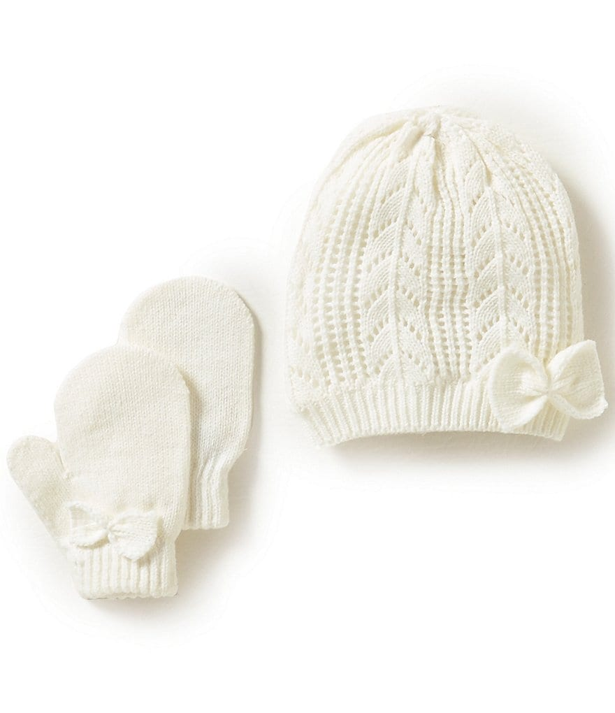 Starting Out Baby Girls Bow-Detailed Pointelle Knit Hat & Mittens Set