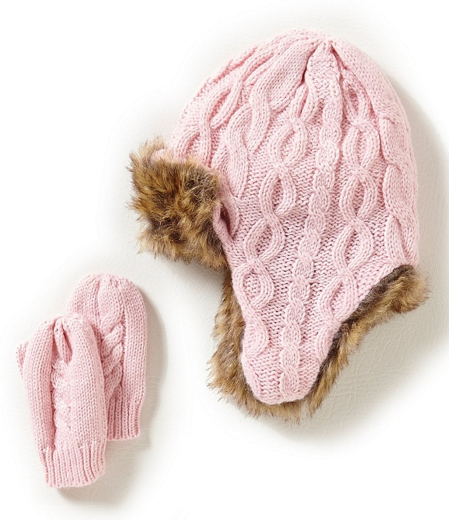 Starting Out Baby Girls Cable Knit Trapper Hat & Mitten Set