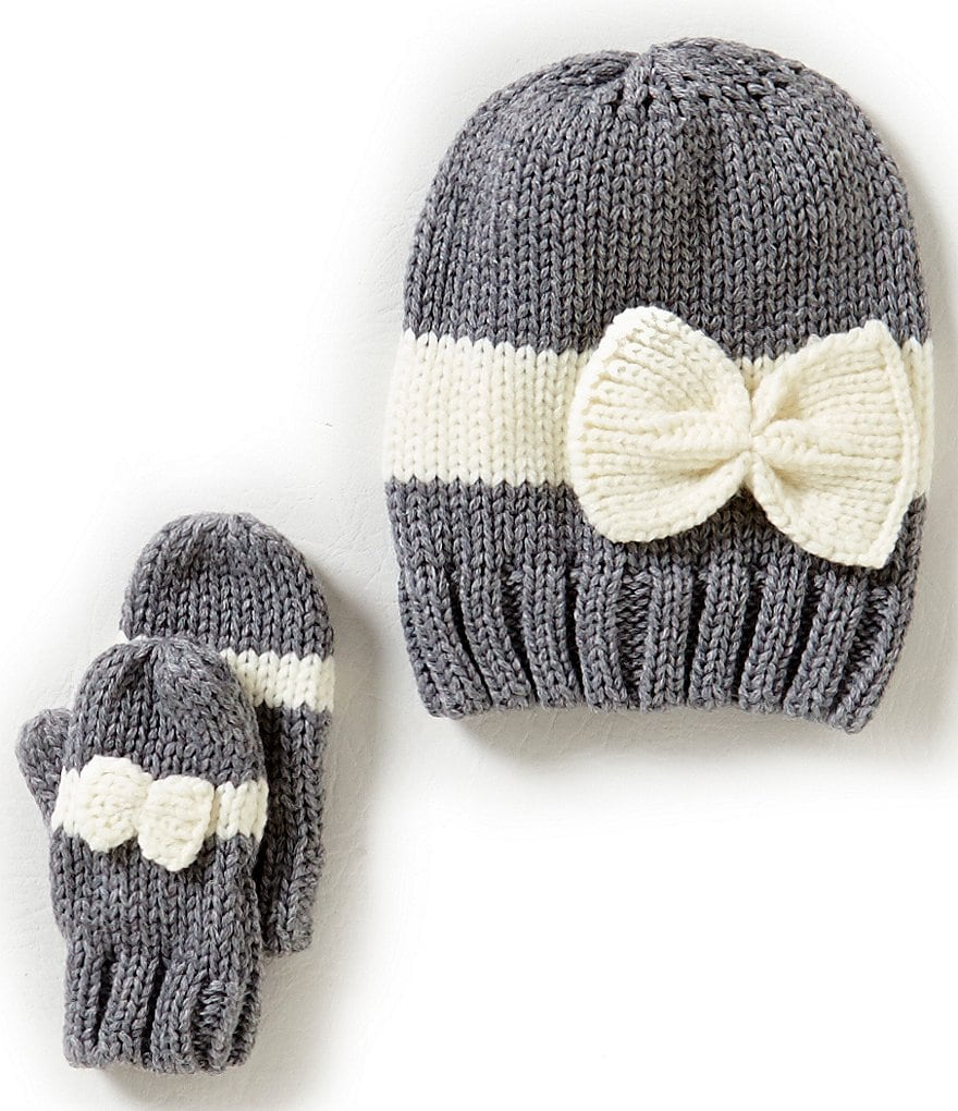 Starting Out Baby Girls Striped Bow Detailed Hat & Mittens Set