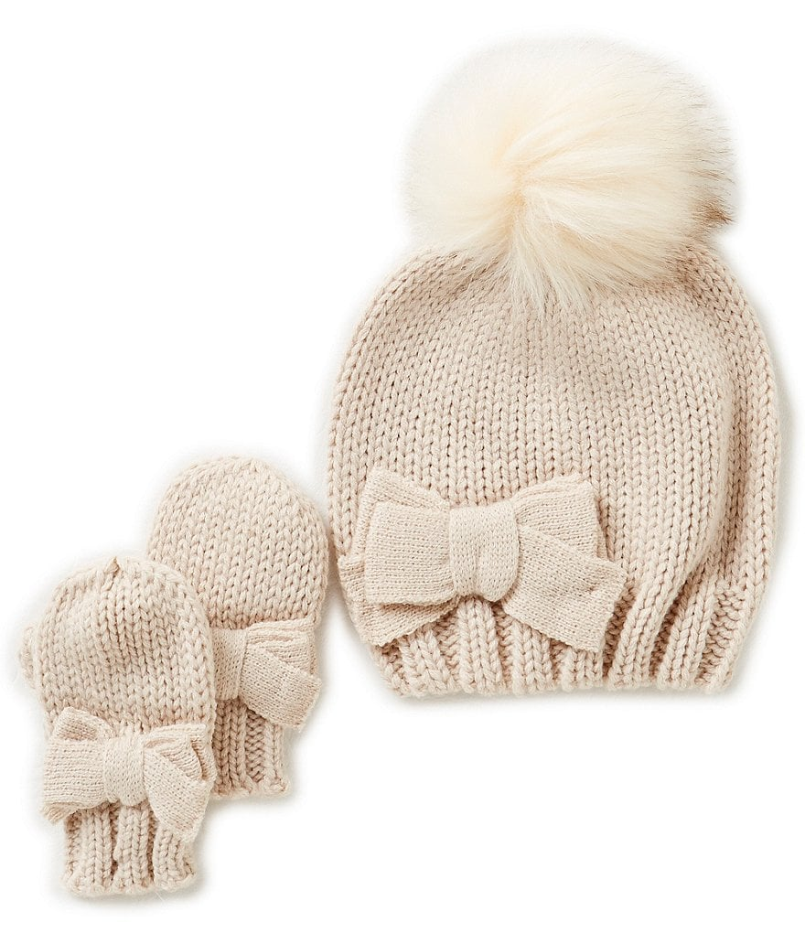 Starting Out Baby Girls Pom Detailed Beanie & Mittens Set