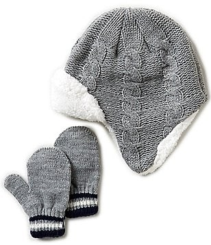 Starting Out Baby Boys Cable-Knit Pilot Hat & Mittens Set