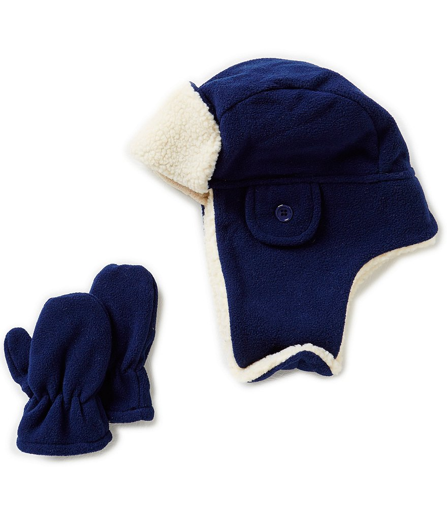 Starting Out Baby Boys Fleece Trapper Hat & Mittens Set