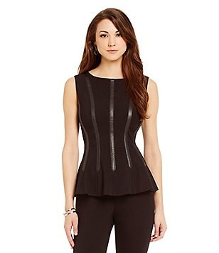 Antonio Melani Valerie Sleeveless Leather Trim Top