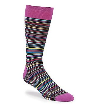 Bugatchi Mercerized Mini Stripe Mid-Calf Socks
