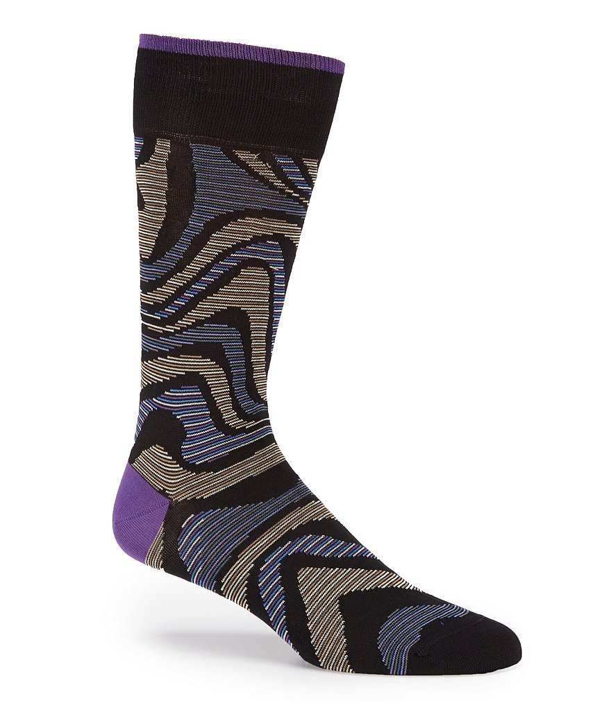 Bugatchi Mercerized Wavy Stripe Mid-Calf Socks
