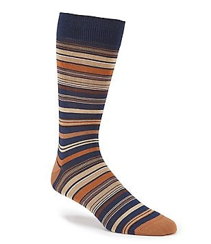 Bugatchi Mercerized Multi Stripe Mid-Calf Socks