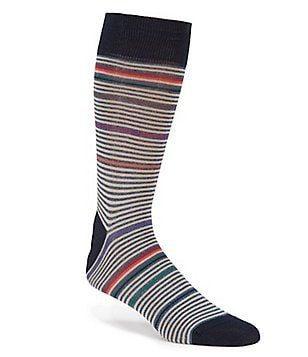 Bugatchi Mercerized Fancy Stripe Mid-Calf Socks