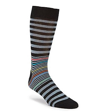 Bugatchi Mercerized Multi Fancy Stripe Mid-Calf Socks