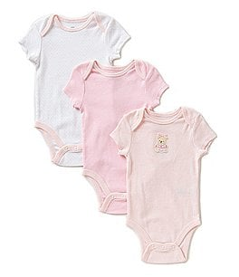 Little Me Baby Girls Newborn-9 Months Sweet Bear 3-Pack Bodysuits Image