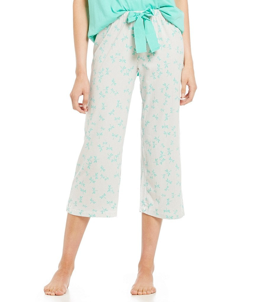 HUEtopia Dragonfly Striped Capri Pajama Pants