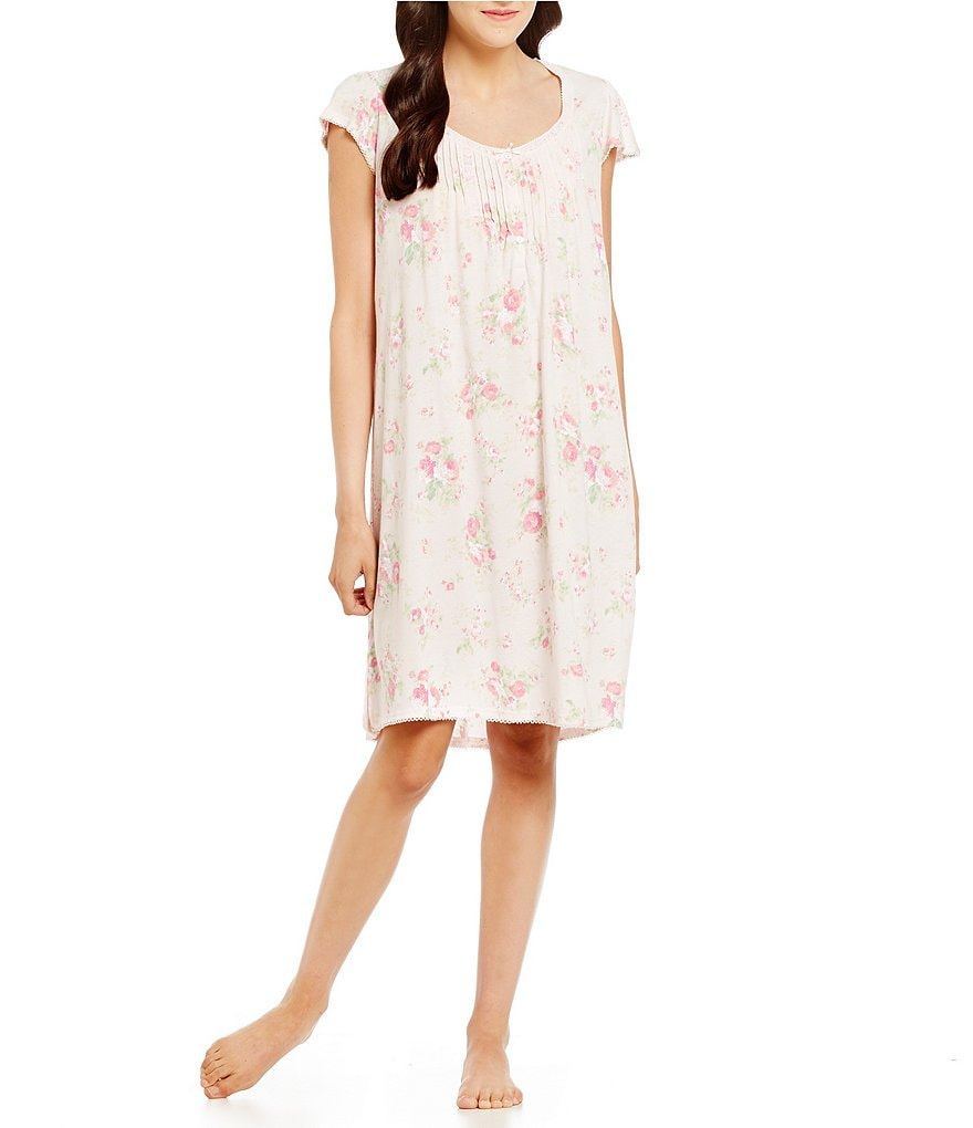 Miss Elaine Floral Flutter-Sleeve Nightgown