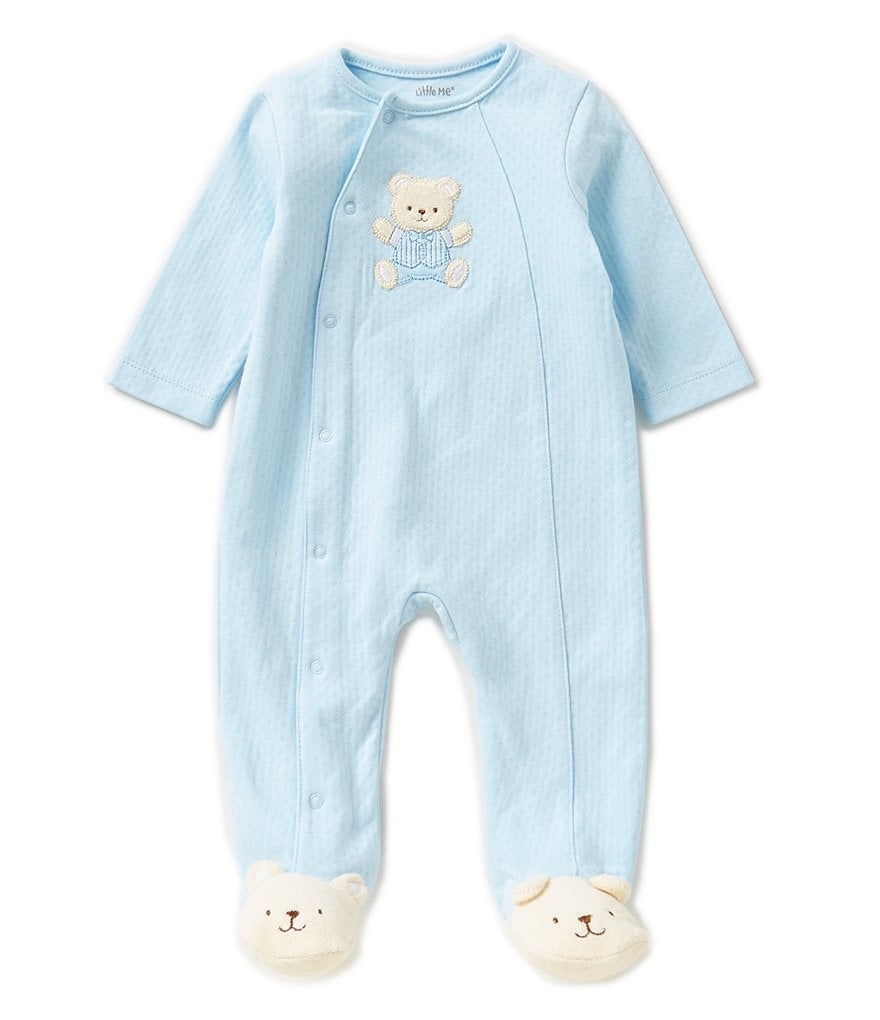 Little Me Baby Boys Preemie-12 Months Cute Bear Footed Coverall