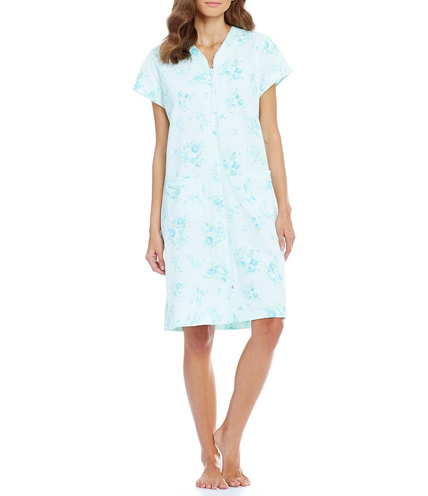 Miss Elaine Floral French Terry Zip Robe