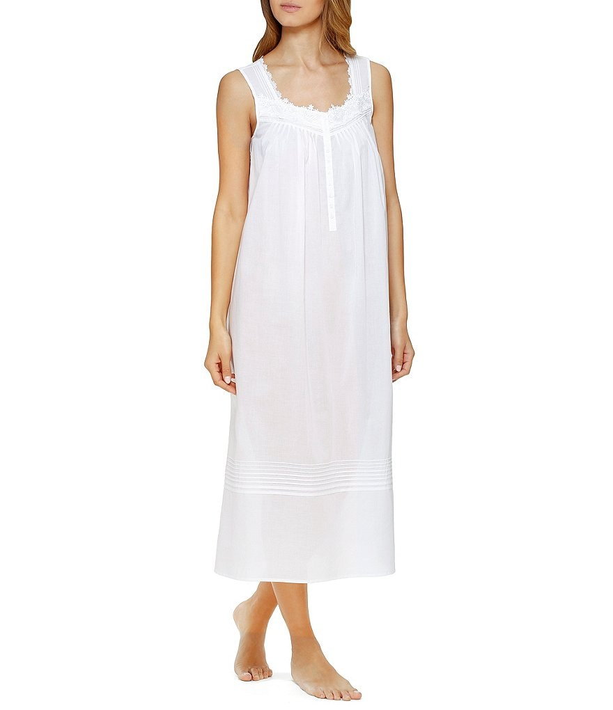 Eileen West Floral-Embroidered Sleeveless Nightgown