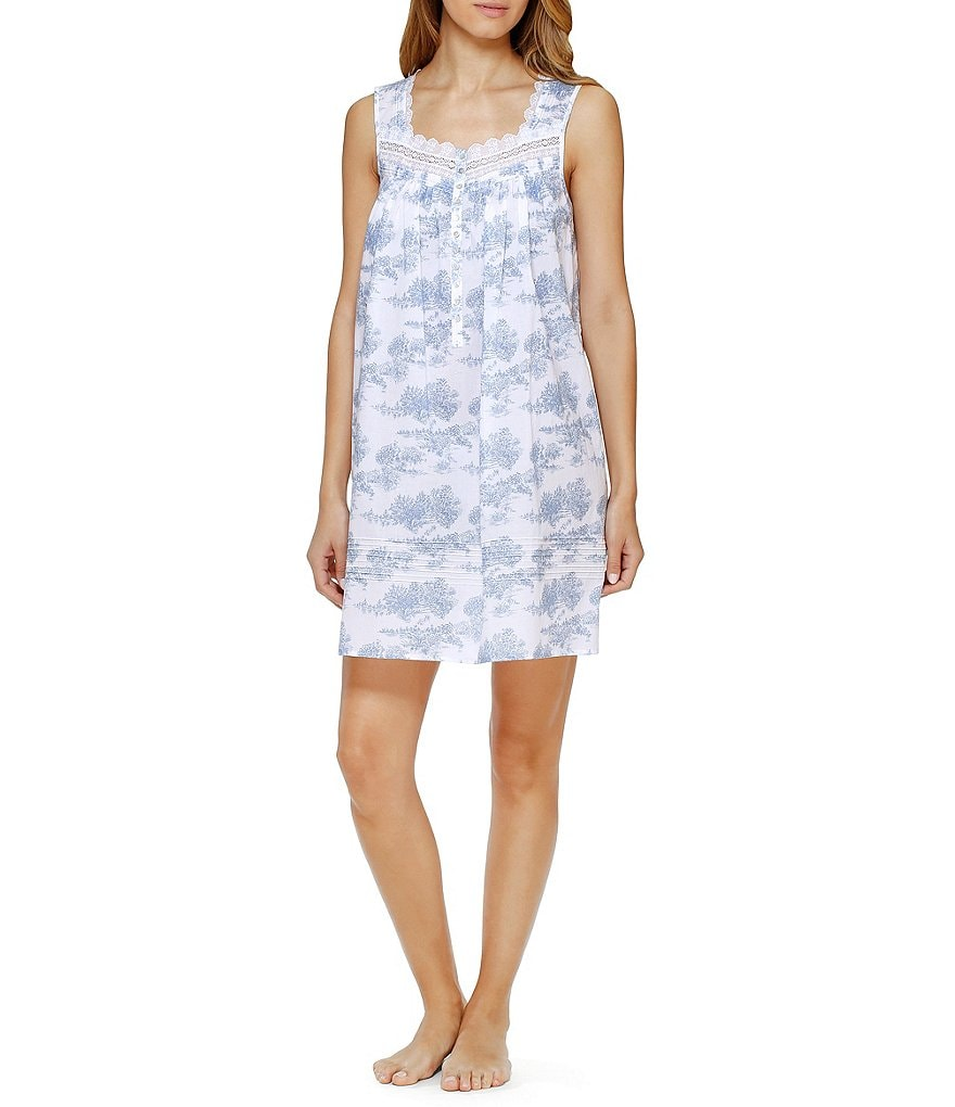 Eileen West Toile Embroidered Sleeveless Nightgown