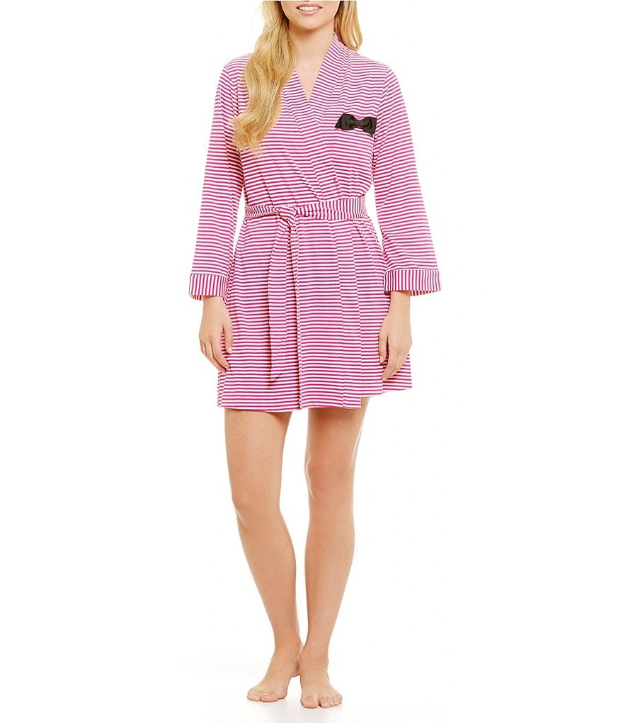 kate spade new york Striped Jersey Robe with Grosgrain Bow