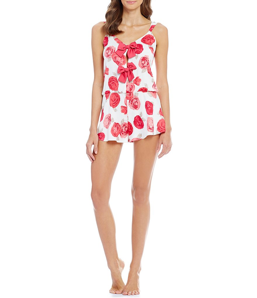 kate spade new york Floral Charmeuse Bow Romper