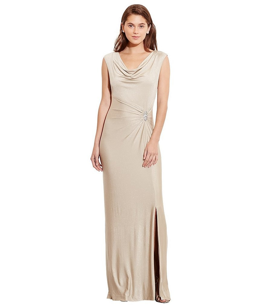 Lauren Ralph Lauren Metallic Brooch Gown