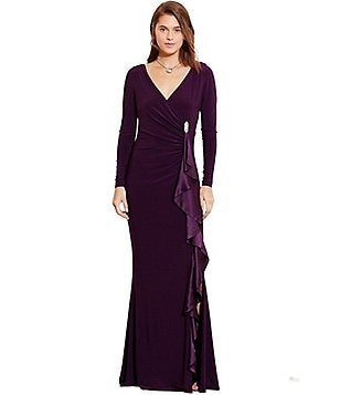 Lauren Ralph Lauren Shirred Long Sleeve Jersey Gown