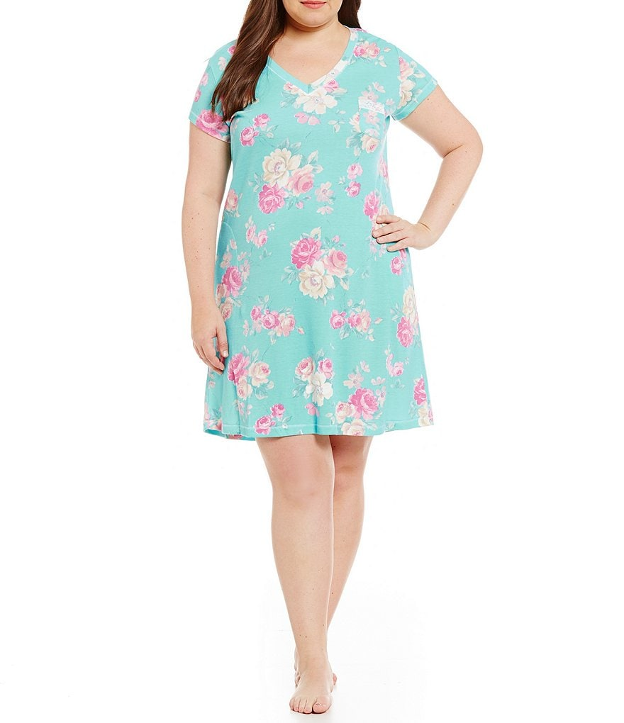 Miss Elaine Plus Cottonessa Floral Nightgown