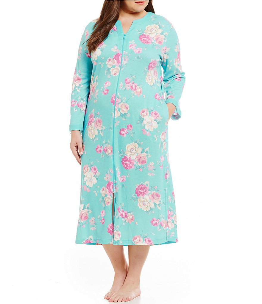 Miss Elaine Plus Cottonessa Floral Zip Robe