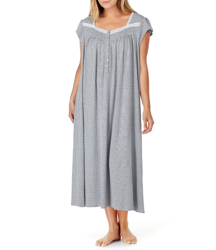 Eileen West Plus Striped Jersey Ballet Nightgown