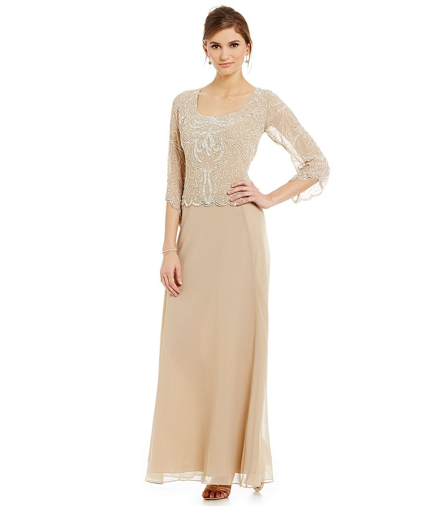 Jkara Petite 3/4 Sleeve Beaded Gown
