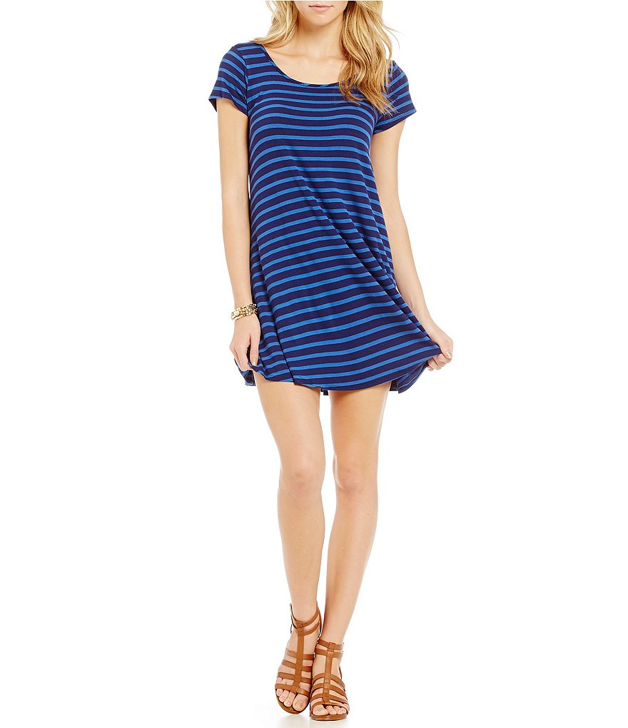 GB Short Sleeve Crossback Striped Knit Dress